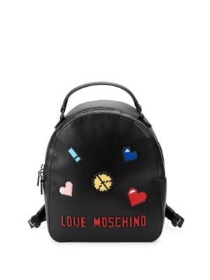 LOVE MOSCHINO Logo Faux Leather Backpack in Black