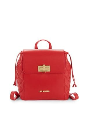 LOVE MOSCHINO Quilted Turnlock Backpack in Red