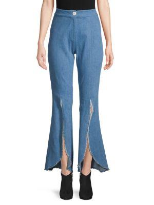 PETERSYN Malibu Slit-Front Raw-Edge Flare Jeans in Blue