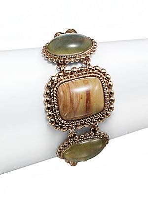 Jasper, Crystal & Bronze Cabochon Bracelet