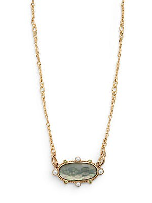 5MM Mabe Pearl, Quartz Doublet & Bronze Oval Pendant Necklace