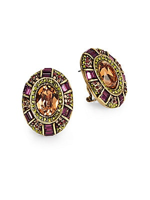 Suit Your Taste Oval Medallion Button Earrings
