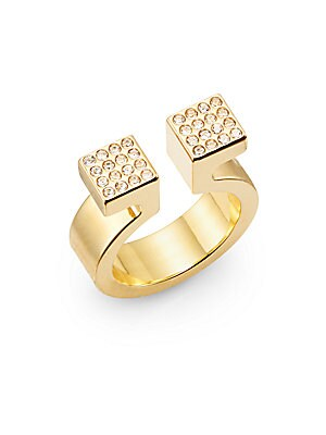 Pav? Crystal Omega Ring/Goldtone