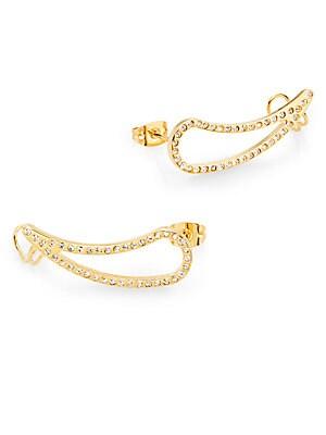 Teardrop Crystal Cuff Earrings/Goldtone
