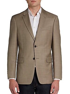 Trim-Fit Two-Button Sharkskin Wool Sportcoat