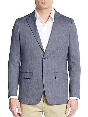 michael kors male ribbed slub linen cotton blazer