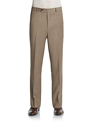 Trim-Fit Sharkskin Wool Pants