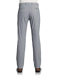 Seersucker Classic-Fit Straight-Leg Pants