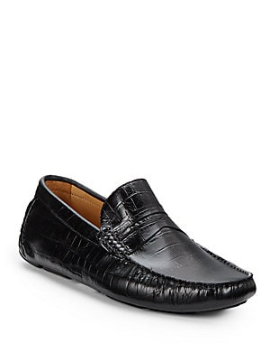 Croc-Embossed Leather Penny Loafers