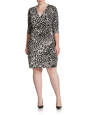 Leopard-Print Faux-Wrap Dress