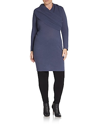 Wrap-Front Cashmere Dress