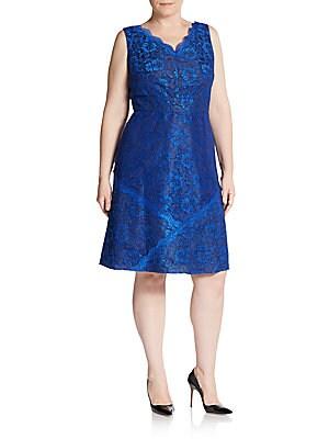 Scalloped Lace Empire-Waist Dress