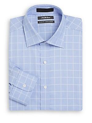 Classic-Fit Windowpane Cotton Dress Shirt