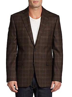 Windowpane Plaid Wool Classic-Fit Sportcoat