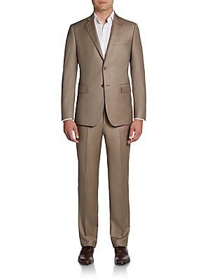 Slim-Fit Sharkskin Wool Suit