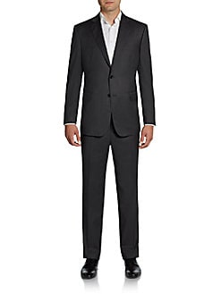 Saks Fifth Avenue BLACK Slim-Fit Wool & Silk Two-Button Suit