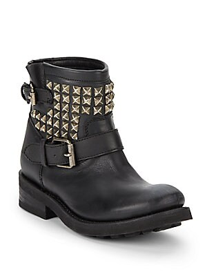 Tramp Studded Leather Ankle Boots