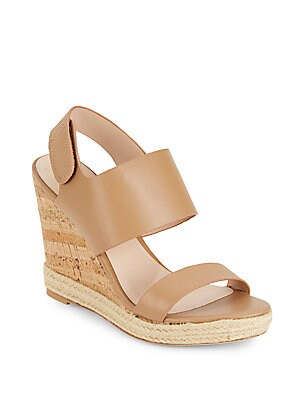 Oriel Jute-Trimmed Leather & Cork Wedge Sandals