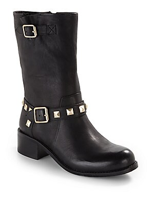 Wolly Studded Leather Short Boots