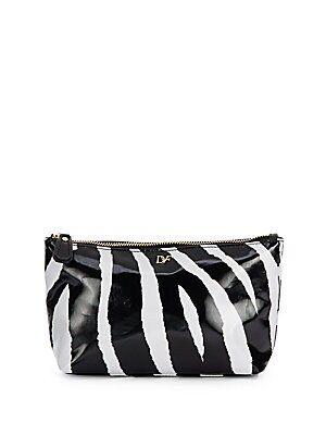 Voyager Zebra-Printed Coated Cosmetic Pouch