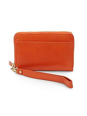Leather Zip-Around Smartphone Wristlet