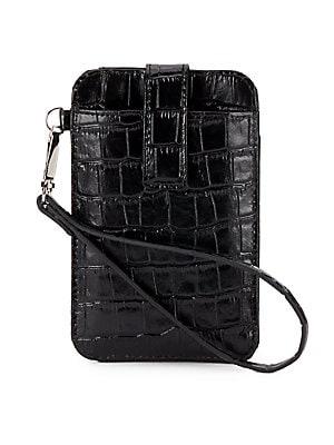 Croc-Embossed Leather Smartphone Wristlet