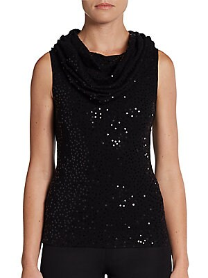 Marily Sequined Cowlneck Top