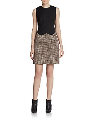 Scalloped Tweed/Leather Sheath Dress