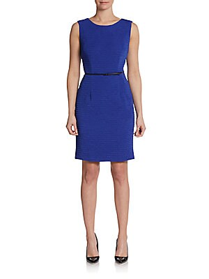 Sleeveless Stretch Crepe Sheath Dress   Atlantis Blue