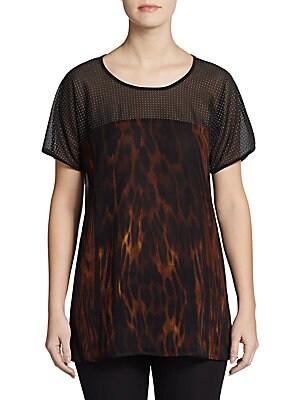 Studded Animal-Print Silk Top