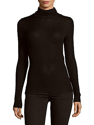 Waffle-Knit Turtleneck Top