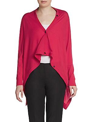 Wool Long-Sleeve Draped Cardigan