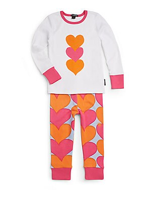 Toddler's Heart Print Knit Pajamas