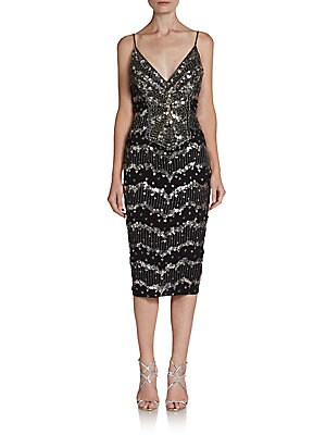 Silk Sequined Cocktail Dress