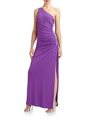 Beaded One-Shoulder Dress