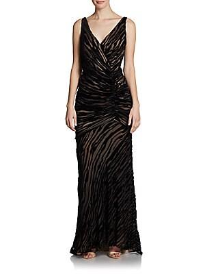 Ruched Burnout Velvet Dress