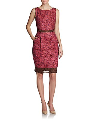 Tweed Lace-Trim Dress