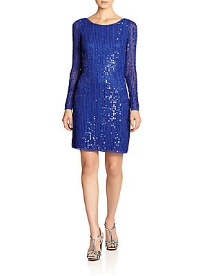 Aidan Mattox - Sequin Draped-Back Dress