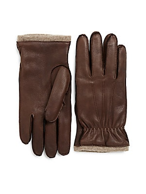 Cashmere-Lined Deerskin Leather Gloves