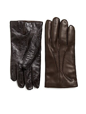 Cashmere-Lined Tech-Touch Leather Gloves