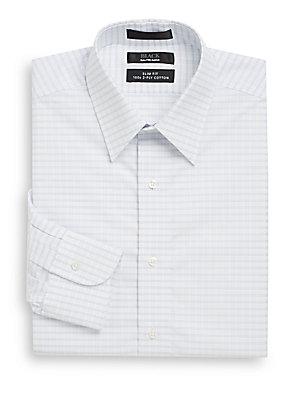 Slim-Fit Windowpane Two-Ply Cotton Dress Shirt