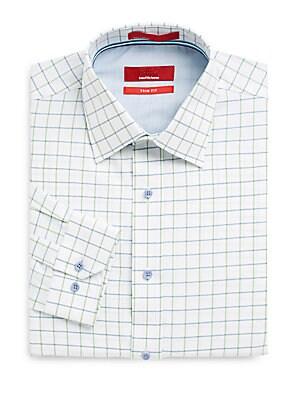 Trim-Fit Windowpane Plaid Dress Shirt