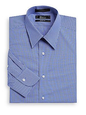 Slim-Fit Mini Gingham Cotton Shirt