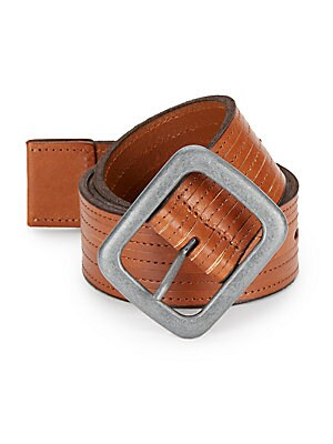 Topstitched-Leather Belt