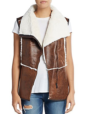 Faux Shearling-Accented Vest