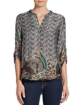 Batik-Print Tunic Blouse