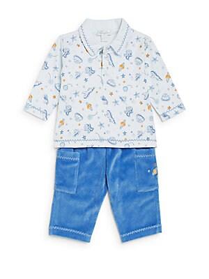 Baby's Space-Print Pima Cotton Shirt & Velour Pants Set