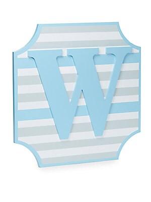 'W' Blue Striped Wall Plaque