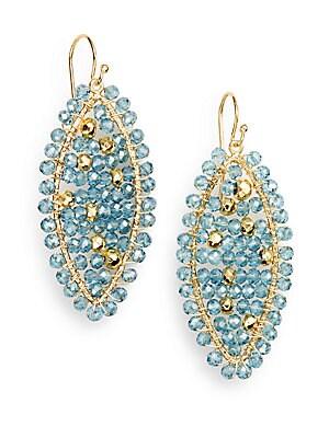 Blue Quartz & Pyrite Bead Earrings