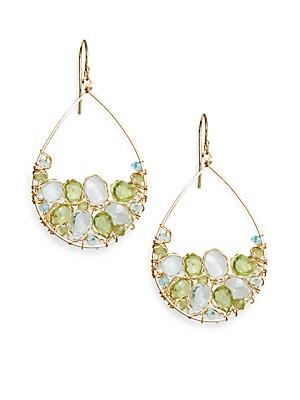 Green Quartz & Blue Quartz Cluster Earrings